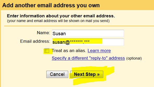 sending other email accounts with gmail